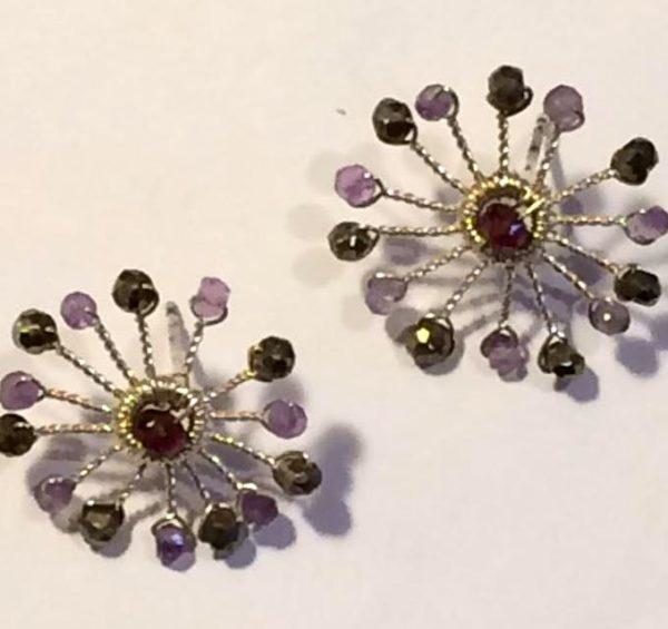 Amethyst Sunburst Stud Earrings