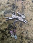 Silver Hare Pendant with Opal