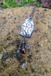 Silver Owl Pendant with Garnet and Labradodite