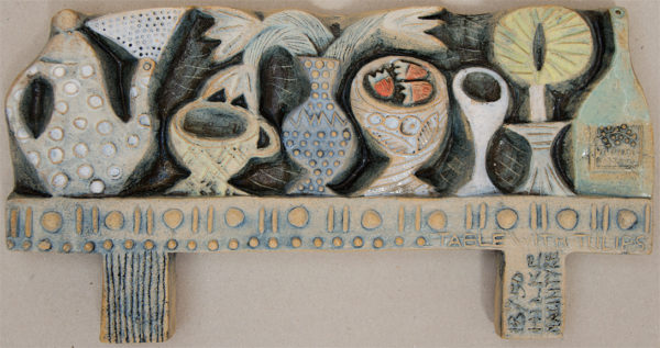 Ceramic Relief Table with Tulips