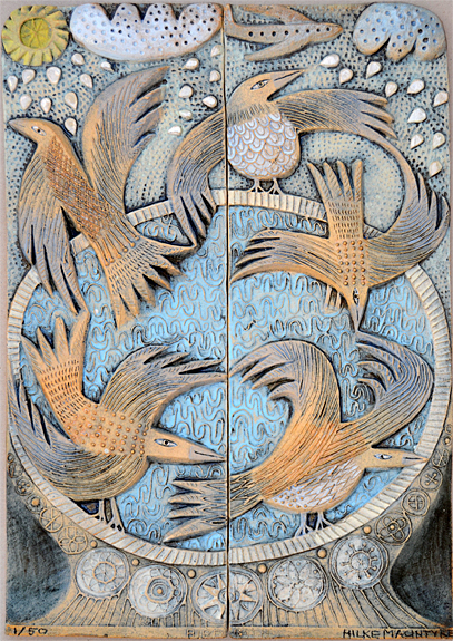 Ceramic Relief Bird Bath