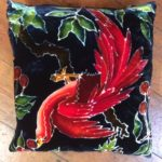 Hand painted silk velvet cushion Red Cherry Bird