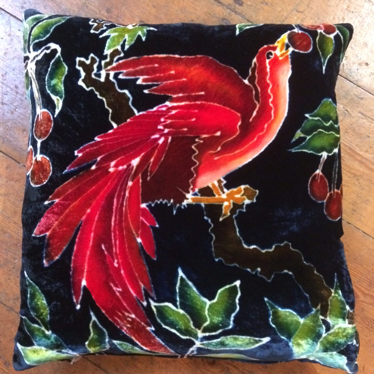 Hand painted silk velvet cushion Red Cherry Bird