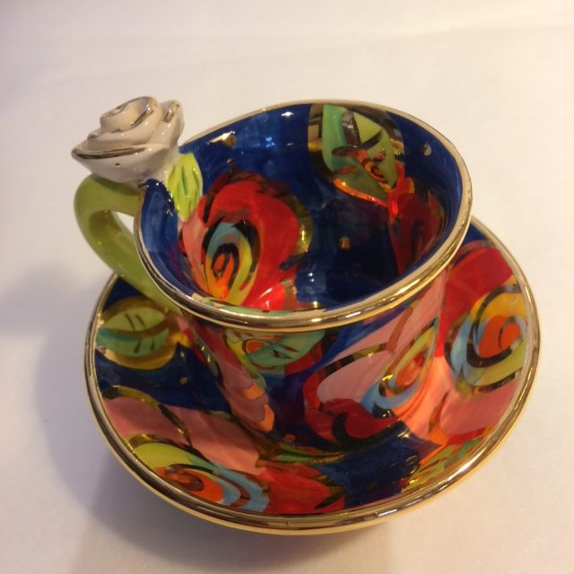 Ceramic Demi Tasse and saucer with rose