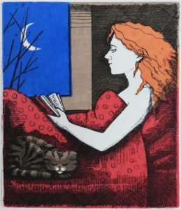Reading with Cat Etching