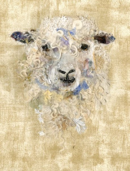 Textile Collage Cotswold Sheep