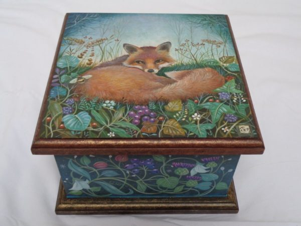 Hand painted box 'Fox and Bee'