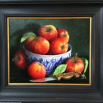 Still Life in oil on board - Apples in Ferrara Bowl