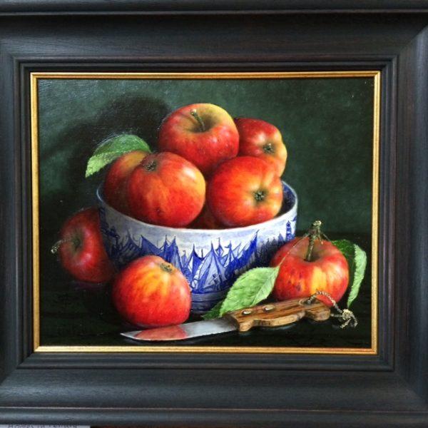 Still Life in oil on board - Apples in Ferrara Bowl