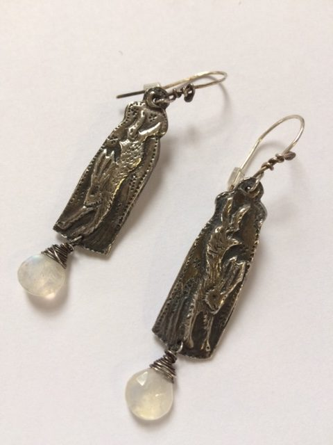 Silver Hare Earrings with Moonstones