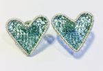 Silver Heart Studs in turquoise