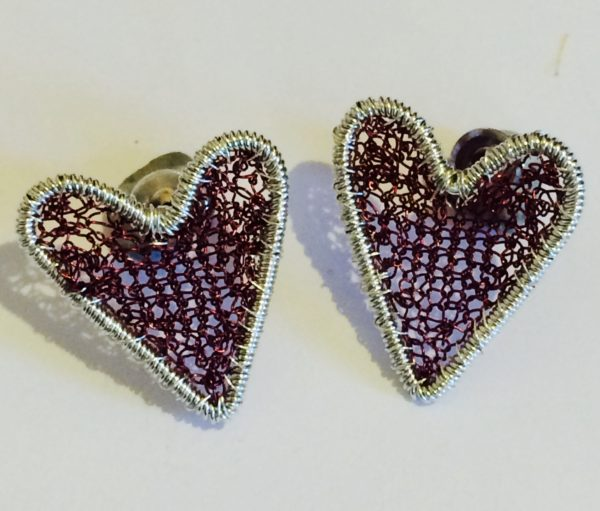 Silver Heart Studs in Burgundy