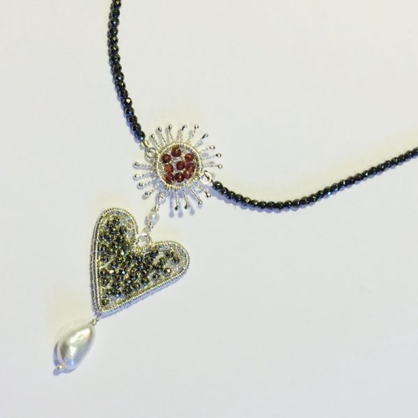 Silver Sparkle Sunflower Heart Pendant