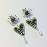 Silver Sparkle Sunflower Stud Earrings