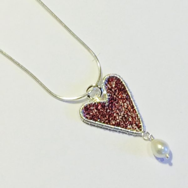 Silver Heart Pendant in Burgundy
