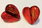 Acrylic heart shaped earrings Red