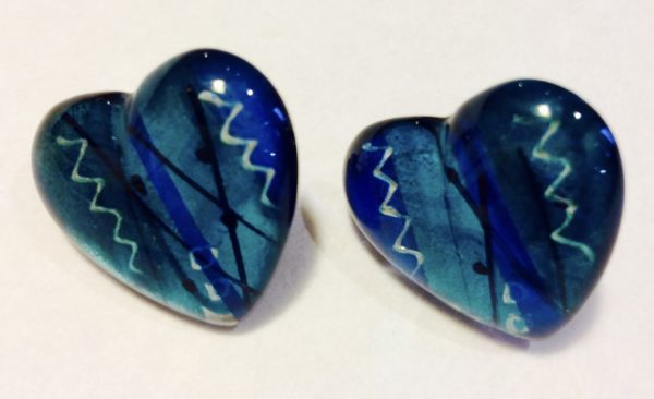 Acrylic Heart shaped Earrings Blue