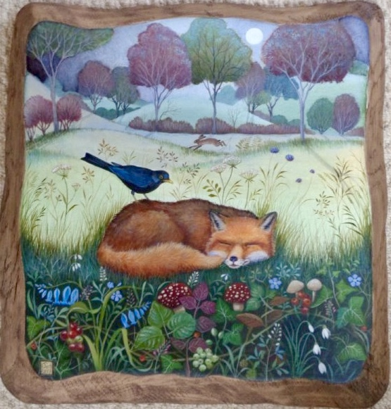 Hand painted oak panel 'Dreamtime'