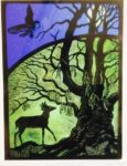 Print of stained glass panel - Young Stag