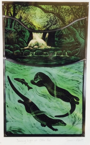 Print of stained glass panel - Otters