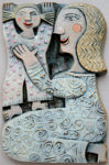 Ceramic Relief Mother and Daughter