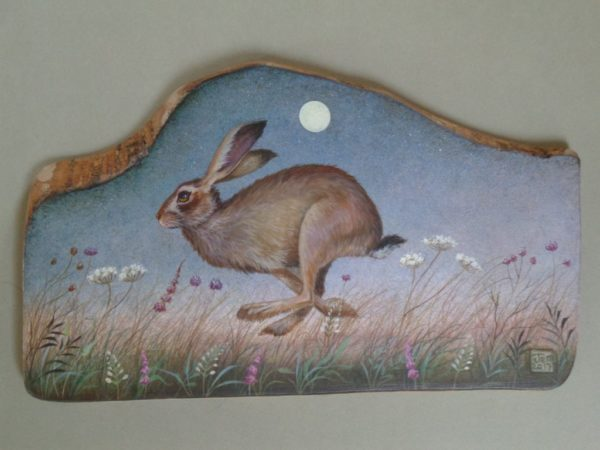 Hand painted Olive Wood Panel 'Silver Moon'