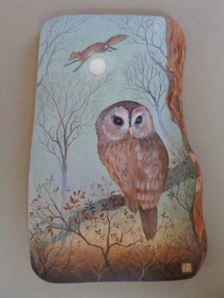 Hand Painted Olive wood panel 'The Fox & The Owl'