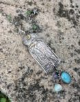 Silver Heron Necklace with 22ct gold accents, Cornish turquoise
