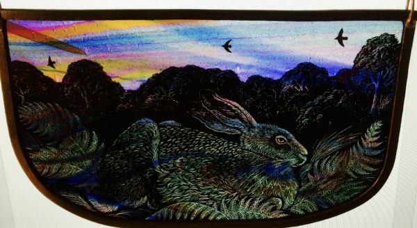 NEW Stained Glass Panel Woodland Hare