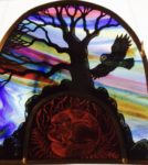 NEW Stained Glass Panel 'Twilight Foxhole'