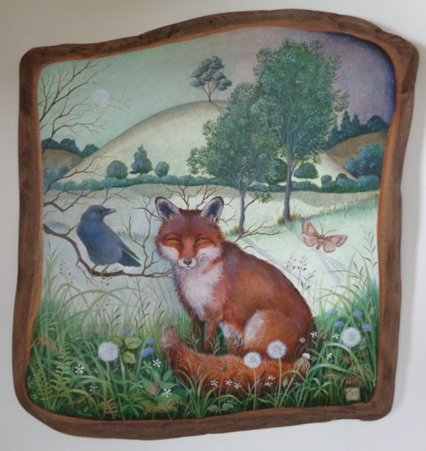 Hand painted Oak panel 'Midsummer's Eve'