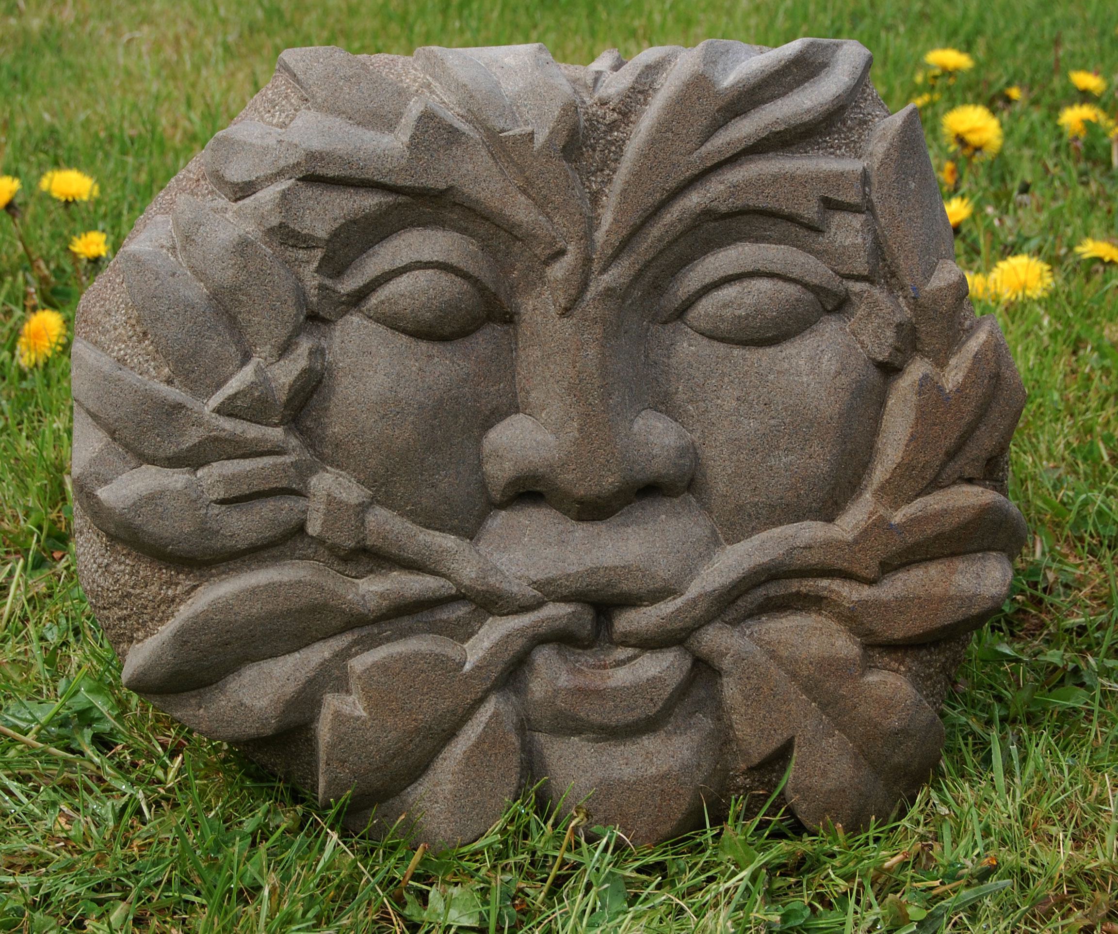 Hand Carved Green Man in Forest of Dean Stone