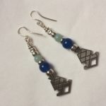 Silver, Blue Carnelian and Amazonite Drop Earrings