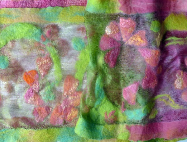 Hand dyed butterfly silk and wool shawl