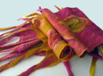 Hand dyed silk and wool scarf Raspberry and Saffron