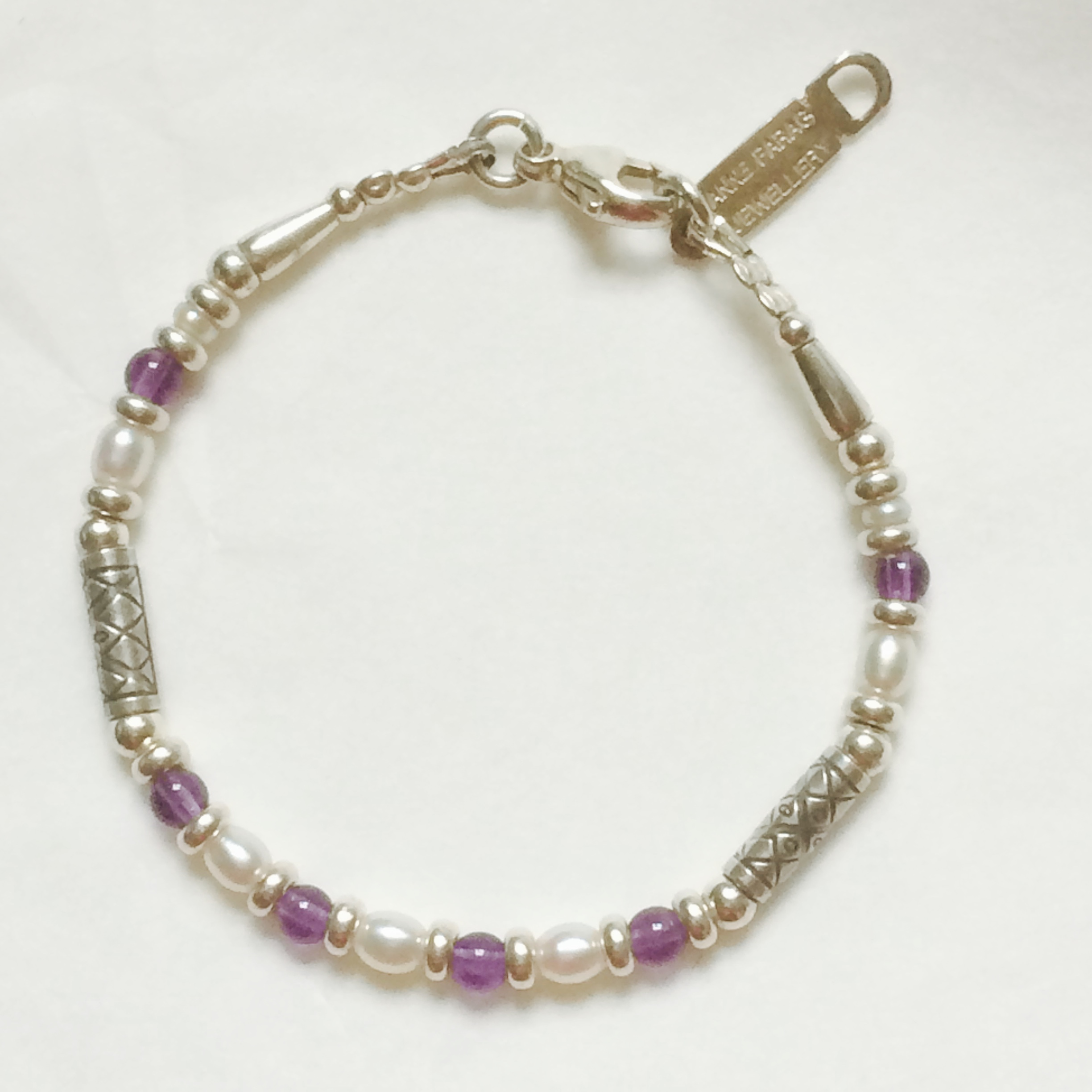 Silver, Pearl and Amethyst Bracelet