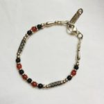 Silver, Onyx and Carnelian Bracelet