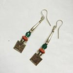 Silver, Carnelian and Sponge Coral Drop Earrings