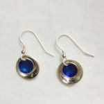 Silver and Blue Enamel Drop Earrings