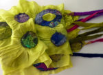 Hand dyed silk and wool scarf - Circles in Lime