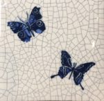 Raku Tile Small Square Trivet 'Blue Butterflies'