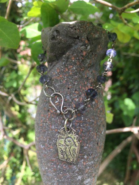 Silver Owl Bracelet with Iolite