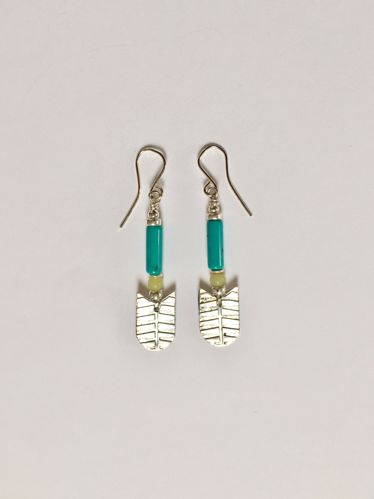 Silver Earrings with Turquoise & Serpentine
