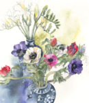 'NEW' Original watercolour Anemones and Freesias