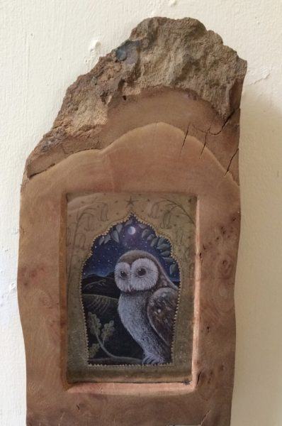 Hand Gilded Limited Edition Print 'Owl on the Oak'
