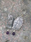 Silver Hare and Owl Drop Earrings with Amethysts
