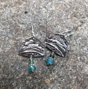 Silver Hare Earrings, apatite, emerald