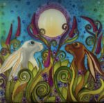 Hand Painted Glass Panel 'Full Moon Hares'