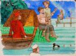 Original Watercolour 'Fishing'