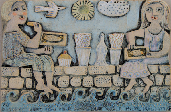 Ceramic Relief 'Fish & Chips on the Harbour Wall'